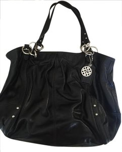 Coach Silver Hardware Large Studded Leather Alexandra Tote in Black/Blue Interior