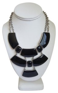 Chico's Black Stone Pyramid Necklace