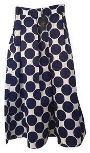Choies Slash Pockets Back Zip Polyester High Maxi Skirt Navy and White Polka Dot