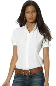 Ralph Lauren Blue Label Super Slim Short Sleeve Button Down Shirt White