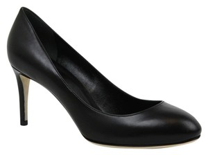 Gucci W/interlocking G Leather 338726 Black Pumps