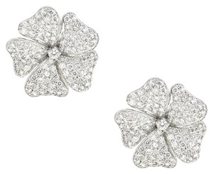 18K White Gold 3.90Ct Diamond Flower Earrings 17 Grams