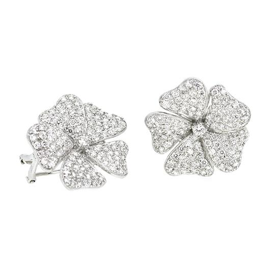 Other 18K White Gold 3.90Ct Diamond Flower Earrings 17 Grams