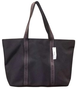 DKNY Travel Overnight Tote in black with brown trim