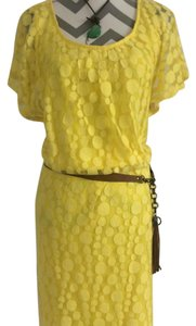 Dress Barn short dress Yellow, Brown Belt on Tradesy