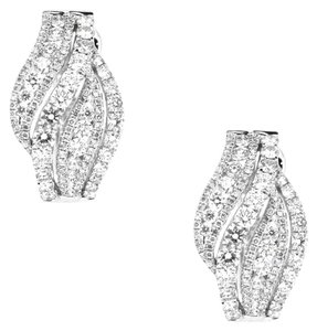 18K White Gold 2.67Ct Diamond Dangle Hoop Earrings 11.4 Grams