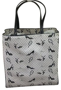Lulu Guinness Printed Shoe Print Tote in pink and black