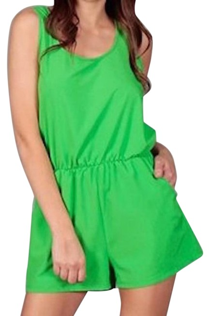 Preload https://img-static.tradesy.com/item/19084678/green-sleeveless-bow-die-cut-back-mini-romperjumpsuit-size-12-l-0-1-650-650.jpg