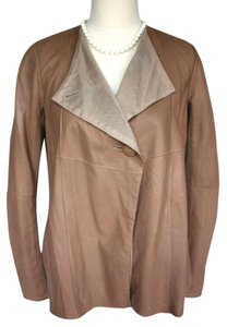 Gimo's Lined Buttery Button Drape Brown Leather Jacket