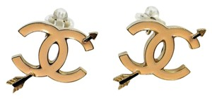 Chanel #8371 CC pink enamel with arrow clip earrings