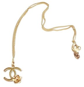Chanel Authentic Chanel Bronze Gold Olive CC Flower necklace