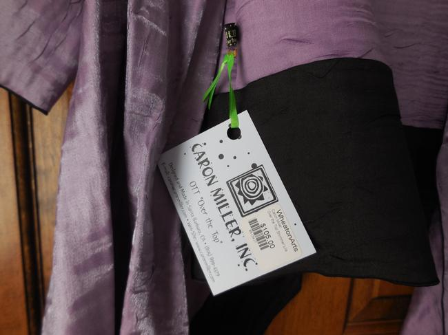 Caron Miller One Size Dressy Made In Usa Asymmetrical Crushed Rayon Top Lilac/Black