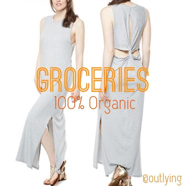 Grey Maxi Dress by Groceries Tank Maxi Loose Tank Jersey Twist Cutout Open Back