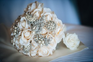 Bridal Wedding Brooch Rhinestone Flower Bouquet + Groom's Boutonniere Real Touch Rose