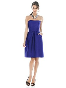 Alfred Sung Electric Blue Peau De Soie D510 Bridesmaid/Mob Dress Size 10 (M)