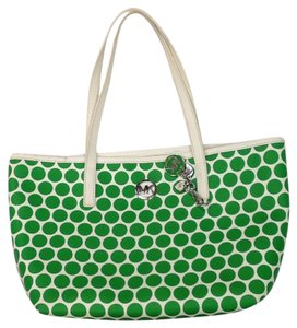 Michael Kors Tote in White With Green Polka Dots