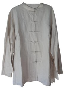 Citron Plus-size Frog Closure Top Linen