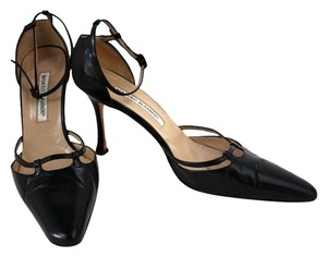 Manolo Blahnik Strappy Sexy Leather Stiletto Pointed Toe Black Pumps