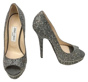 Jimmy Choo Gray Crystal Pumps