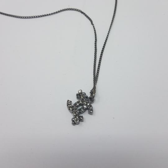 Chanel Chanel Silver CC Silver Crystal Dots Detail Pendant Necklace