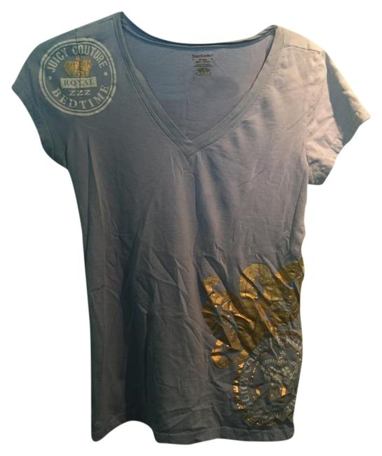 Preload https://item3.tradesy.com/images/juicy-couture-blue-and-gold-sleep-v-neck-tee-shirt-size-8-m-19085707-0-1.jpg?width=400&height=650