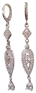 Bridal Drop Micro Paved Cz Hoop Earrings