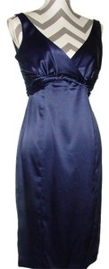 Jones Wear Blue Satin Sleeveless Ruched Empire Waist Dress