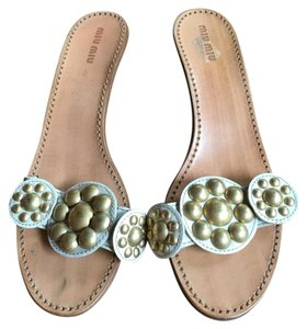 Miu Miu Ivory with Gold/Brass Hardware Mules