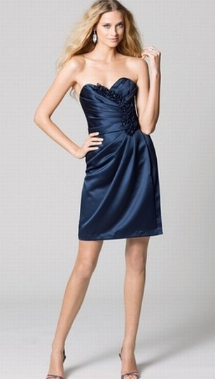 Wtoo Navy Blue Satin 368 Bridesmaid/Mob Dress Size 8 (M)