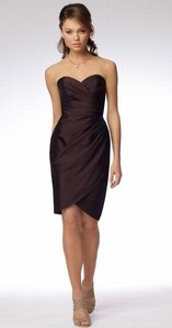 Wtoo Fudge Chocolate Brown Shantung 953 Bridesmaid/Mob Dress Size 6 (S)