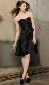 Wtoo Black Taffeta 122 Bridesmaid/Mob Dress Size 12 (L)