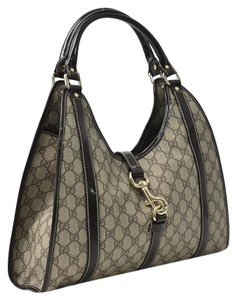 Gucci Vintage Leather Gg Monogram Shoulder Bag