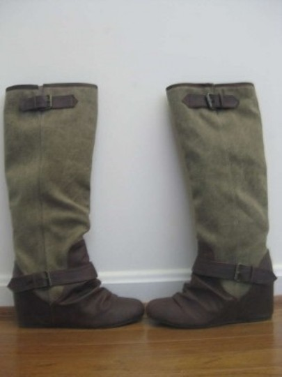 ALDO Vintage Western Wedge Two-tone Olive/Brown Boots
