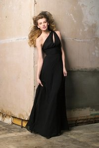 Wtoo Black Chiffon 183 Bridesmaid/Mob Dress Size 12 (L)