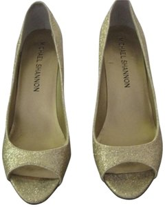 Peep Toe Wedding Gold Pumps