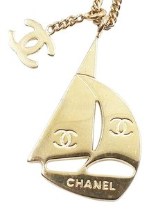 Chanel Authentic Rare Chanel Gold CC Sailing Boat Necklace