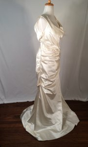 Reem Acra Reem Acra Off The Shoulder Rouged Trumpet Silk Wedding Dress