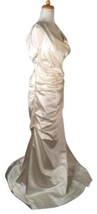 Reem Acra Ivory with Rouge Highlights Silk Modest Wedding Dress Size 10 (M)