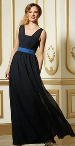Wtoo Navy Blue with Royal Blue Chiffon 590 Bridesmaid/Mob Dress Size 12 (L)