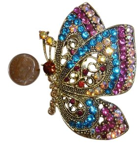 Crystals Adorned Gold Tone Butterfly Embellishment