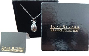 Joan Rivers VINTAGE JOAN RIVERS SILVER FABERGE EGG BOW NECKLACE PENDANT WITH CHAIN