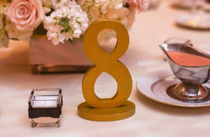 Gold Wooden Table Numbers 1-15