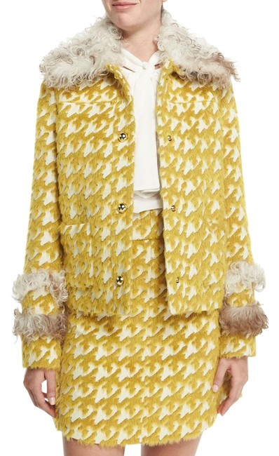 Preload https://item3.tradesy.com/images/just-cavalli-yellow-houndstooth-jacket-fur-coat-size-8-m-19089922-0-2.jpg?width=400&height=650