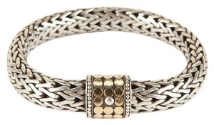 John Hardy Heavy Braided Chain Bracelet With Gold Dot Closure