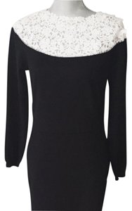 Valentino short dress Black Wool Embroidered on Tradesy