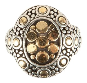 John Hardy Silver And Gold Decorative Dot Dome Ring