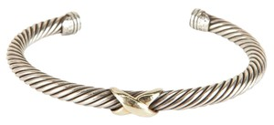 David Yurman Silver Cable Twist And Single Gold X Bracelet