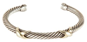 David Yurman Silver Cable Twist And Double Gold X Bracelet