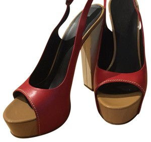 Vicini Red, white and beige Platforms