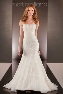 Ivory Lace On Stone Tulle and Champagne Royal Organza Over Oyster Dolce Satin (Color) / Zipper Traditional Wedding Dress Size 8 (M)